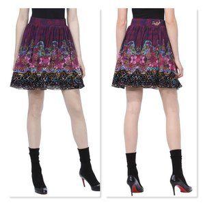 Desigual Women's Mini Skirt XL Purple Floral